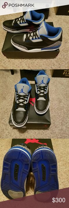 Air Jordan Retro 3 Sport Blue Air Jordan Retro 3 Sport Blue only worn 4 times well taken care of! Comes in original box! Let me know if you want to see additional pics! Jordan Shoes
