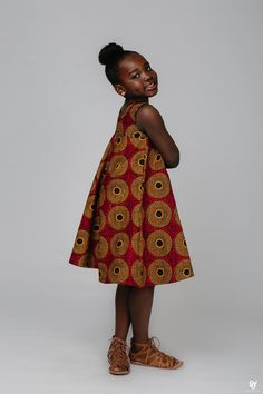 Loose fit childrens dress  Made with 100% cotton high quality African print wax fabric THIS ITEM WILL BE SHIPPED OUT IS 1-2 WEEKS FROM ORDER PLACING AND