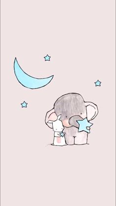 Wallpaper image, cute, and elephant - animal wallpaper Cute Elephant Drawing, Cute Animal Drawings, Cute Drawings, Cute Cartoon Wallpapers, Cute Wallpaper Backgrounds, Wallpaper Iphone Cute, Iphone Wallpapers, Summer Wallpaper, Elephant Wallpaper
