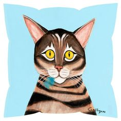 Bring a touch of whimsy to your sofa or settee with this eco-friendly pillow, showcasing a cat motif.   Product: Pillow