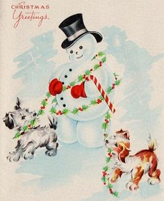 Snowman walking his doggies - Vintage Christmas card