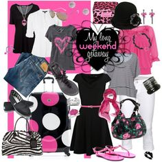 """A 4 day weekend getaway wearing black, white and the flavorful """"hot pink"""". This would be so easy to pack and co-ordinate some cute outfits. We could even extend our stay! ENJOY! in-my-dream-closet"""