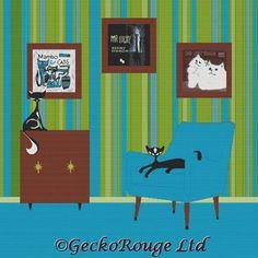 Cross Stitch Kit By Kerry Beary' 'Mr and Mrs Mambo  by GeckoRouge