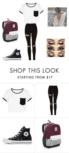"""School outfit"" by clairewoods0827 on Polyvore featuring WithChic, Topshop, Converse and Victoria's Secret"