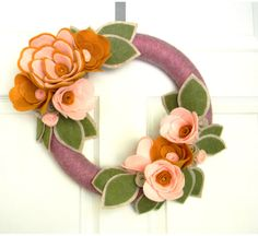 Mauve, Mustard Yellow, Pink, Sandstone, and Sage:14 inch Felt and Yarn Wreath via Etsy