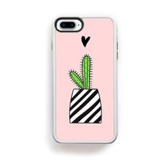 Green Cactus in stripe pot on pink with heart for iPhone 7 Plus