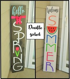 welcome sign for front door, tall reversible sign, spring summer front porch decor decorating spring front porches Your place to buy and sell all things handmade Welcome Signs Front Door, Front Porch Signs, Front Door Decor, Front Doors, Wooden Welcome Signs, Front Entry, Entryway Decor, Porte Diy, Summer Front Porches