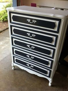 Upcycled Dresser. Would not use black but this would be similar to the way our dresser would look with white trim and a color background