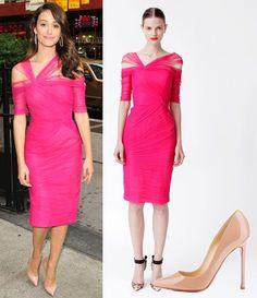 emme rossum in monique l'huillier bright pink dress