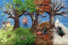 Waldorf Seasons Needlefelt Wool Painting by ClaudiaMarieFelt, $500.00