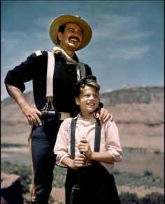 John Wayne With Patrick on the set of RIO GRANDE 1950. Film debut for Duke's second son 'He was overly doting with his kids and a very proud grandfather. He loved having all 21 of his grandchildren around him.' Maureen O'Hara