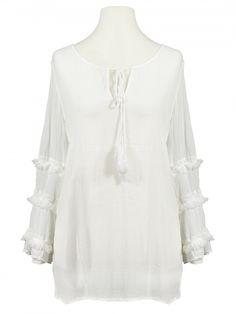 Damen Tunika Bluse mit Spitze, weiss von Miho's bei www.meinkleidchen.de