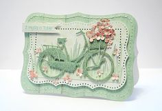 Cut bicycle with Cricut out of pastel paper, add flowers in basket Cute Cards, Diy Cards, Bicycle Cards, Marianne Design, Card Making Inspiration, Card Maker, Flower Basket, Card Tags, Flower Cards