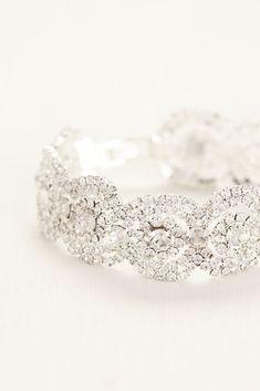Crystal Pave Circle Bracelet - Crystal / Silver