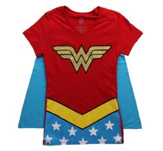 Juniors T-Shirt - Wonder Woman - V-Neck Costume Tee with Cape for only $17.99 You save: $32.00 (64%)