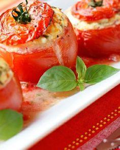 Low FODMAP Vegetarian Recipe and Gluten Free Recipe - Feta-stuffed tomato…
