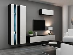 Seattle 22 - Modern TV wall unit with high gloss black MDF fronts Floating Entertainment Center, Entertainment Wall Units, Modern Tv Wall Units, Modern Wall, Modern Tv Cabinet, Living Room Wall Units, Tv Wall Decor, Wall Mounted Tv, Home Decor