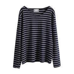 Long Sleeve Round Neck Striped T-Shirt (460 MXN) ❤ liked on Polyvore featuring tops, t-shirts, shirts, sweaters, long sleeves, long sleeve stripe shirt, navy blue shirt, cotton t shirts, blue long sleeve shirt and blue t shirt