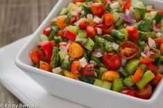 Chop up some fresh summer vegetables then dress them up all week for a healthy Chopped Veggie Salad all week long! Add feta, fresh mozzarella or whatever you're in the mood for. The perfect way to have healthy lunches or dinners at the ready!