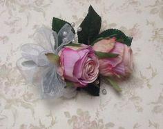 Corsage de rosa rosa por JuneyFlowers en Etsy