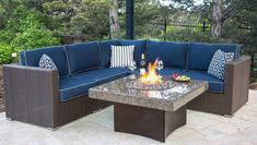 Gas Fire Pit Table with Square Granite Top