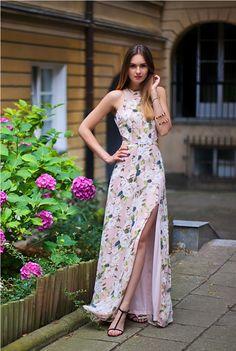 retro floral slit cut out maxi dress