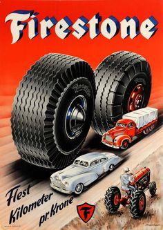 "Posters - Vintage Advertising Poster ""Firestone Tires Most Kilometers Per Krone"" Danish Paper Posters Vintage, Vintage Advertising Posters, Car Advertising, Vintage Advertisements, Vintage Ads, Retro Posters, Vintage Dress, Firestone Tires, Posters"
