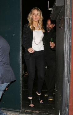 Jennifer Lawrence wearing Balenciaga Leather Mules and A.L.C. James Studded Blazer