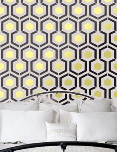 Adore David Hicks' Hexagon. Hexagon inspired by iconic David Hicks Hexagon Geometric Pattern Wall Room Stencil Home Decor better then vinyl decals Wallpaper