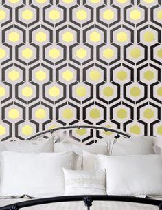 Adore David Hicks' Hexagon. Hexagon inspired by iconic David Hicks Hexagon Geometric Pattern Wall Room Stencil Home Decor better then vinyl decals Wallpaper