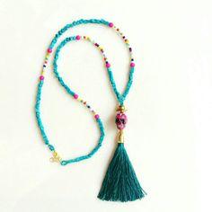 Turquoise Tassel Necklace Boho Necklace Sugar Skull by AlinaandT