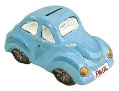 Paper+Mache+cars | Medium Paper Mâché Car Savings Box - 16.5 x 8.5 x 9 cm