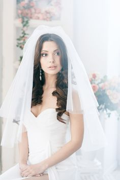 Open wedding hairstyle for long hair, Veil