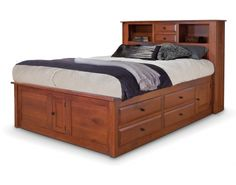 Simplicity Queen Captain's Bed w/ Bookcase Headboard and Low Footboard Bed Designs With Storage, Bookcase Headboard, Bed Design, Bed, Furniture, Amish Furniture Bedroom, Bed With Drawers, Country Bedroom Furniture, Captains Bed