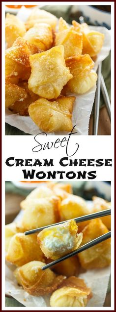 Sweet Cream Cheese Wontons: Crispy Wontons fried or baked to golden perfection and filled with a sweet, two-ingredient cream cheese filling.