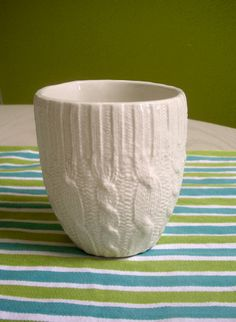 Ivory Cable knit ceramic cup by reshapestudio on Etsy