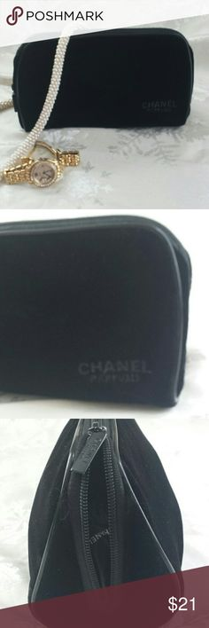 CHANEL  Black velvet beauty bag/ makeup bag New with out tags, Pristine condition, black CHANEL velvet make up bag. This is brand new, with a zip closure.  Zipper hang tag also has CHANEL logo.  Very good sized bag, it can hold a lot. 8 1/2 long. CHANEL Accessories