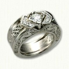 Dragon #12 - Custom platinum Celtic Dragon Knot Engagement Ring adorned with diamonds