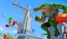 Pool Party Renekton Skin by Riot  See how many champs you can spot in the background. I've got: Ziggs, Zac, Ahri, Gragas, Lulu, Kha'zix, Urf (not a champ but counts), Karthus (I think) and tow more I can't distinguish.