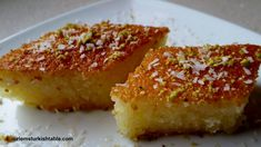 My 9 year old son asked if we may bake anneanne's (grandma's) Revani semolina cake the other day and our heart was set. We don't enjoy overly sweet desserts and this delicious… Turkish Chef, Turkish Sweets, Arabic Sweets, Turkish Mezze, Turkish Dessert, Arabic Dessert, Greek Desserts, Light Desserts, Semolina Cake
