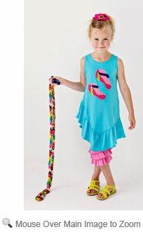 Lemon Loves Lime Girls Aqua Blue Splash Flip Flops Dress