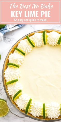 No Bake Key Lime Pie is a delicious, easy summer dessert made with only a few, simple ingredients! An easy-to-prep NO-BAKE lime cake recipe that is perfect for when you just CANNOT turn your oven on in the summertime. Lime Desserts, Easy Summer Desserts, Easy Desserts, Delicious Desserts, Gourmet Desserts, Summer Food, Plated Desserts, Tart Recipes, Best Dessert Recipes