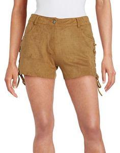 California Moonrise Lace-Up Faux Suede Shorts Women's Tan Large