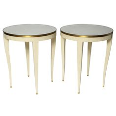 Angelo Donghia Round Side Tables | From a unique collection of antique and modern night stands at http://www.1stdibs.com/furniture/tables/night-stands/