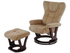RKC - 34 křeslo relax. s taburetem, mikroplyš sv. hnědý, dřevo tm. hnědé