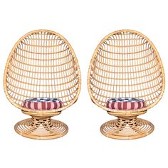 OBSESSED. (two 1960s Egg-Shaped Easy Chairs in Rattan)