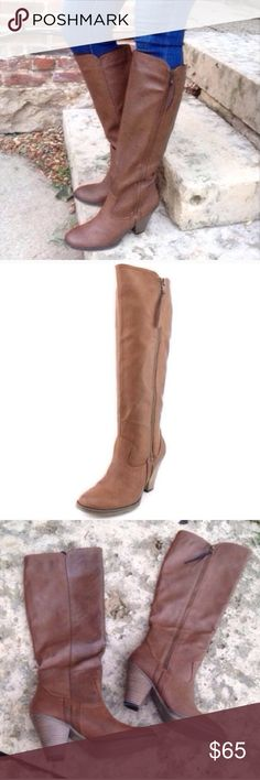 NWT MIA Cognac Brown Knee High Heel Boots Size 9 So chic! Mia Shoes Heeled Boots