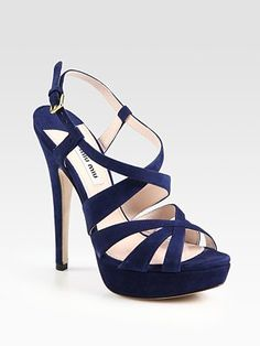 Miu Miu Suede Criss-Cross Platform Sandals -- Was $695.00 Now $486.50 at Saks Fifth Avenue online.    Bridesmaid shoes for Megs Wedding! :)