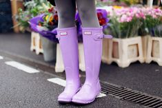Hunter Original Gloss wellies in Wisteria lilac purple by I Want You To Know UK Fashion Blog, via Flickr