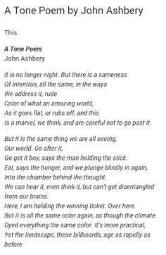 """""""A Tone Poem"""" - John Ashbery"""